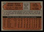 1972 Topps #433  Johnny Bench  Back Thumbnail