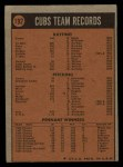 1972 Topps #192   Cubs Team Back Thumbnail