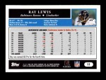 2005 Topps #11  Ray Lewis  Back Thumbnail
