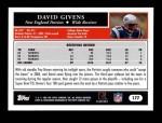 2005 Topps #177  David Givens  Back Thumbnail