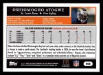 2005 Topps #405  Oshiomogho Atogwe  Back Thumbnail