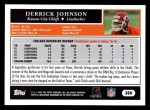 2005 Topps #380  Derrick Johnson  Back Thumbnail