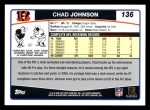 2006 Topps #136  Chad Johnson  Back Thumbnail