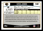 2006 Topps #148  Greg Jones  Back Thumbnail
