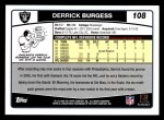 2006 Topps #108  Derrick Burgess  Back Thumbnail