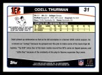 2006 Topps #31  Odell Thurman  Back Thumbnail