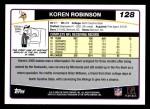 2006 Topps #128  Koren Robinson  Back Thumbnail