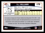 2006 Topps #175  D.J. Williams  Back Thumbnail
