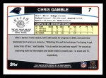 2006 Topps #7  Chris Gamble  Back Thumbnail