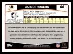 2006 Topps #66  Carlos Rogers  Back Thumbnail