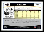 2006 Topps #114  Torry Holt  Back Thumbnail