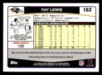 2006 Topps #163  Ray Lewis  Back Thumbnail