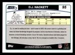 2006 Topps #95  D.J. Hackett  Back Thumbnail