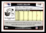 2006 Topps #115  Corey Dillon  Back Thumbnail
