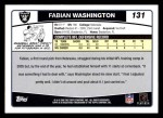 2006 Topps #131  Fabian Washington  Back Thumbnail
