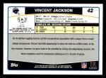 2006 Topps #42  Vincent Jackson  Back Thumbnail