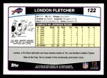 2006 Topps #122  London Fletcher  Back Thumbnail