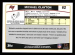 2006 Topps #62  Michael Clayton  Back Thumbnail