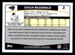 2006 Topps #3  Shaun McDonald  Back Thumbnail