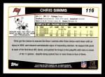 2006 Topps #116  Chris Simms  Back Thumbnail