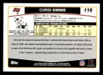 2006 Topps #116  Chris Simms  Back Thumbnail