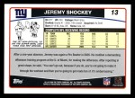 2006 Topps #13  Jeremy Shockey  Back Thumbnail