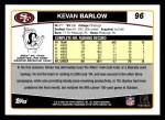 2006 Topps #96  Kevan Barlow  Back Thumbnail