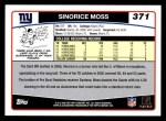 2006 Topps #371  Sinorice Moss  Back Thumbnail