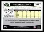 2006 Topps #247  Laveranues Coles  Back Thumbnail