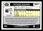 2006 Topps #341  Anthony Schlegel  Back Thumbnail