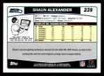 2006 Topps #239  Shaun Alexander  Back Thumbnail