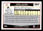 2006 Topps #383  Omar Jacobs  Back Thumbnail