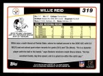 2006 Topps #319  Willie Reid  Back Thumbnail