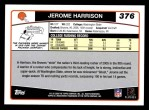 2006 Topps #376  Jerome Harrison  Back Thumbnail