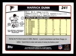 2006 Topps #241  Warrick Dunn  Back Thumbnail