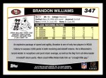 2006 Topps #347  Brandon Williams  Back Thumbnail