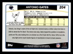 2006 Topps #204  Antonio Gates  Back Thumbnail