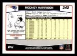2006 Topps #242  Rodney Harrison  Back Thumbnail