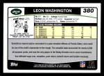2006 Topps #380  Leon Washington  Back Thumbnail
