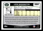2006 Topps #380  Leon Washington  Back Thumbnail