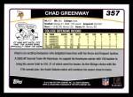 2006 Topps #357  Chad Greenway  Back Thumbnail