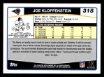 2006 Topps #318  Joe Klopfenstein  Back Thumbnail