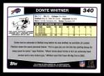 2006 Topps #340  Donte Whitner  Back Thumbnail