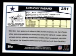 2006 Topps #381  Anthony Fasano  Back Thumbnail