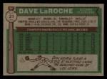 1976 Topps #21  Dave LaRoche  Back Thumbnail