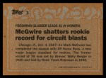 1988 Topps #3 ERR  -  Mark McGwire Record Breaker Back Thumbnail