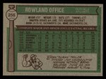 1976 Topps #256  Rowland Office  Back Thumbnail