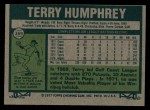 1977 Topps #369  Terry Humphrey  Back Thumbnail