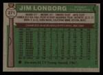 1976 Topps #271  Jim Lonborg  Back Thumbnail