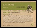 1961 Fleer #43  L. G. Dupre  Back Thumbnail